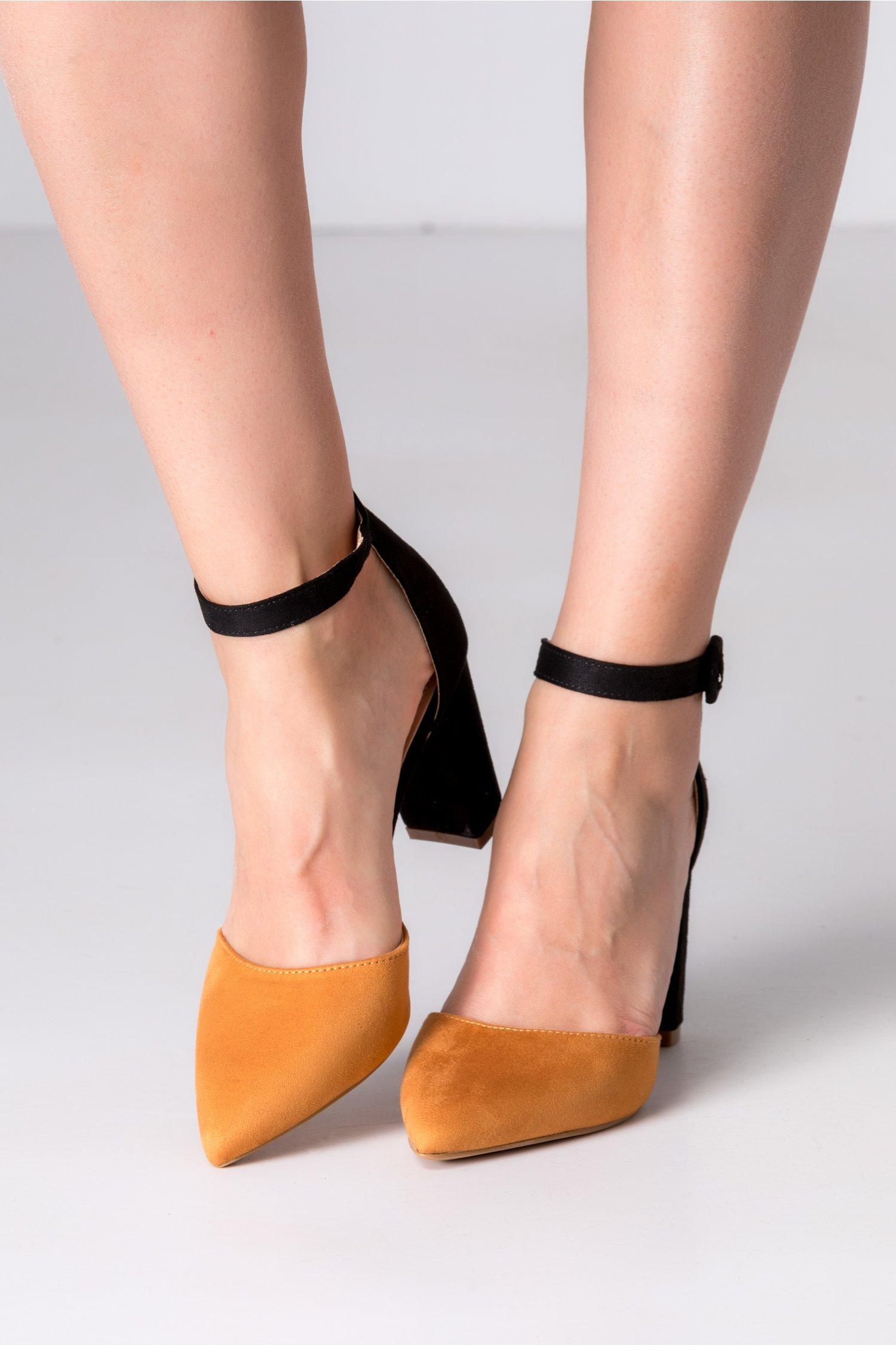 Pantofi dama negru si camel cu bareta