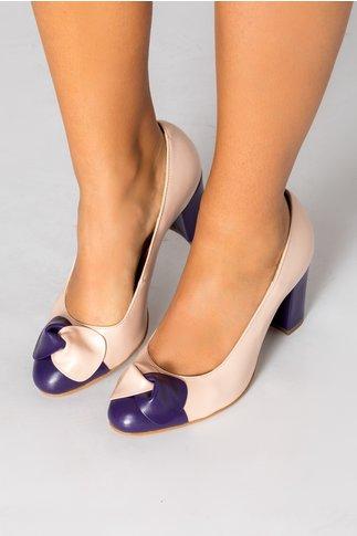 Pantofi dama nude cu funda mov-nude