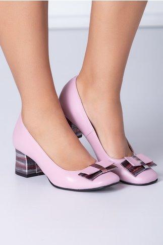 Pantofi dama roz cu funda si dungi
