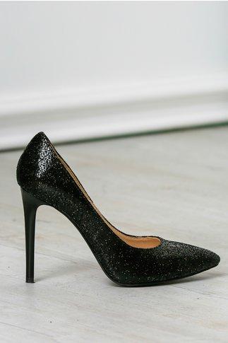 Pantofi dama stiletto negri de ocazie toc inalt