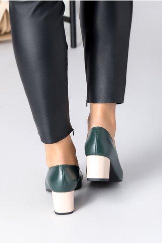 Pantofi dama verde inchis cu aplicatie si toc bej