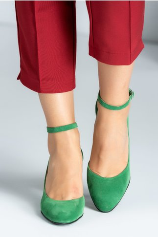 Pantofi dama verzi din piele intoarsa