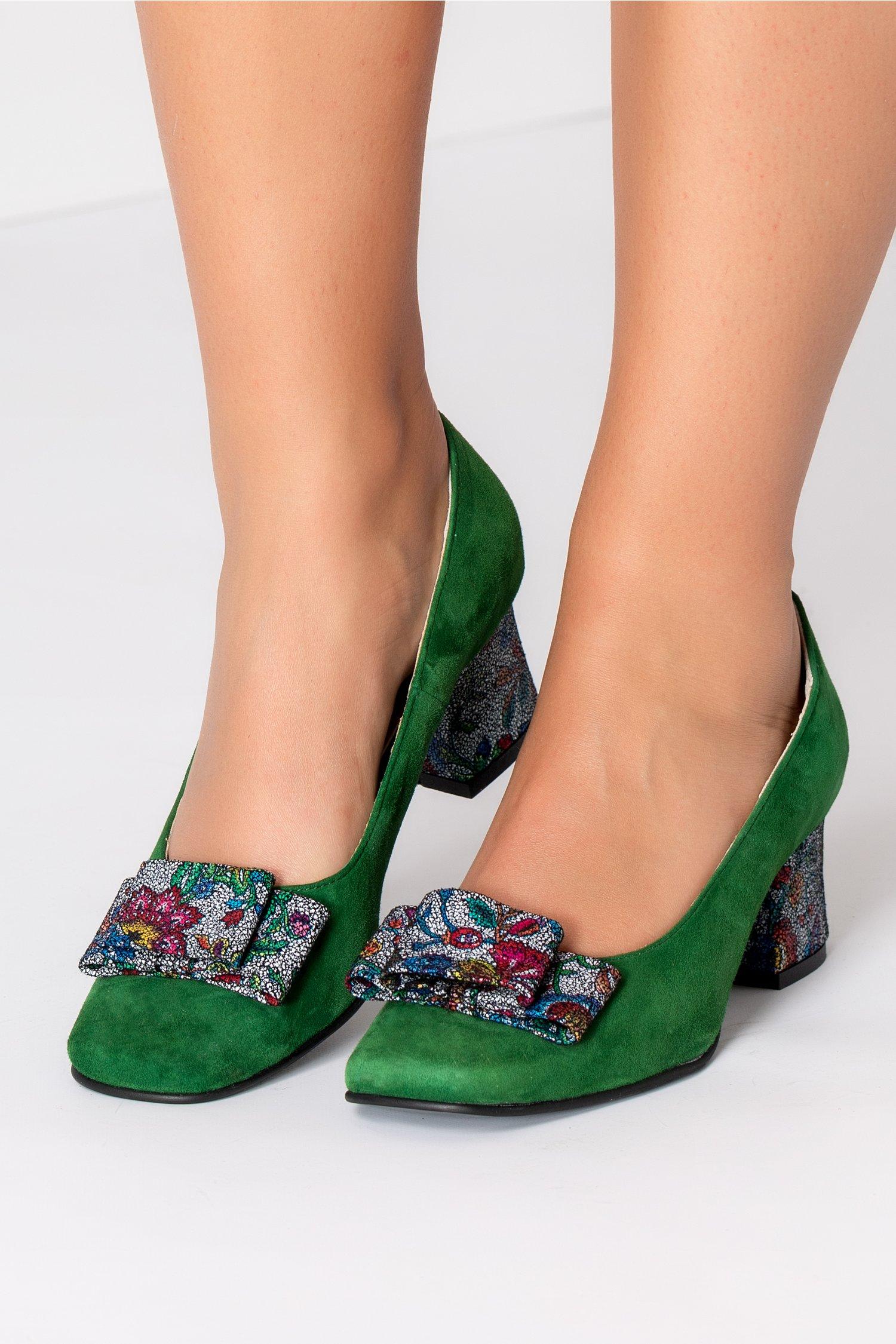 Pantofi dama verzi din piele naturala office cu imprimeu - HaineinTrend.com