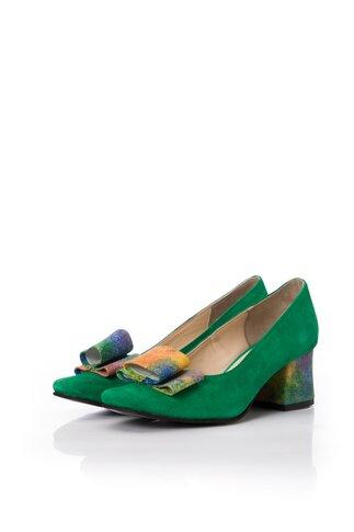 Pantofi dama verzi din piele naturala office cu imprimeu multicolor pe funda si toc