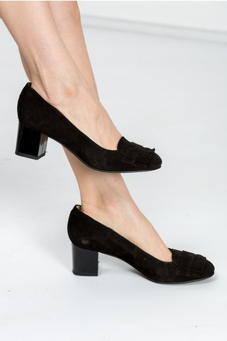 Pantofi Deana negri office cu franjuri