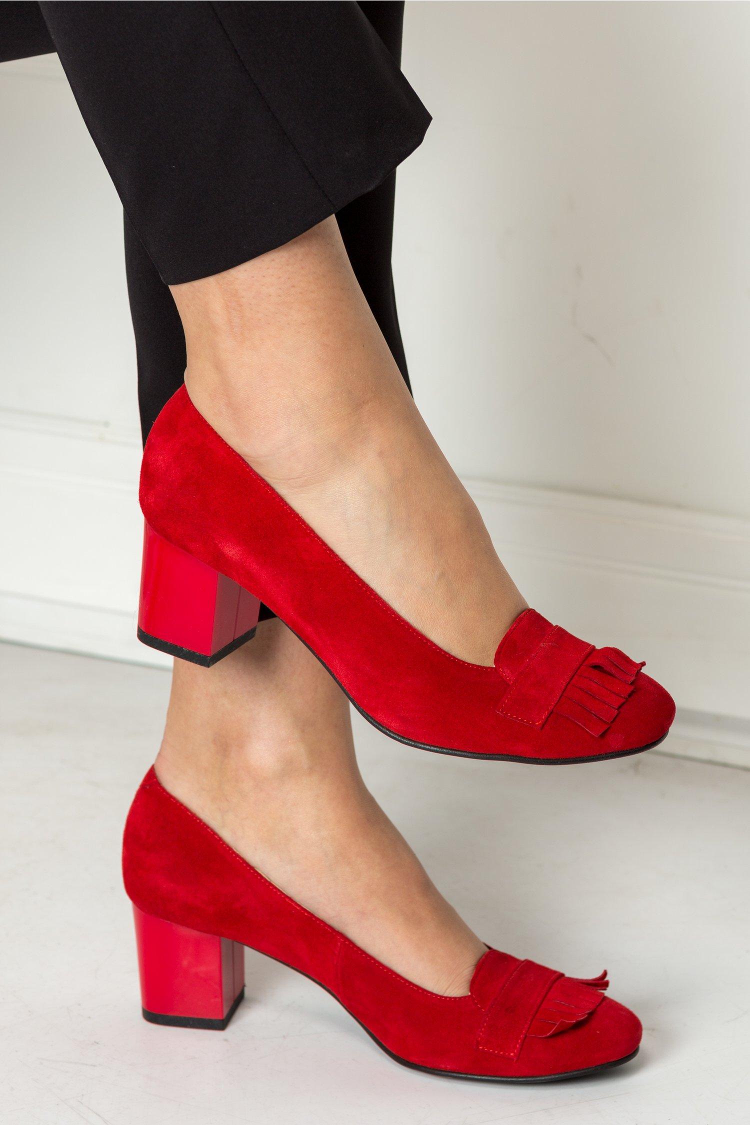 Pantofi Deana rosii office cu franjuri