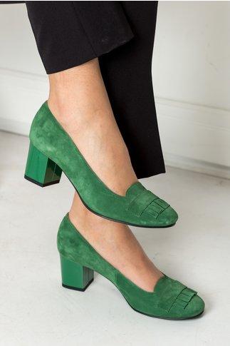 Pantofi Deana verzi office cu franjuri