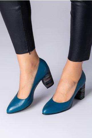 Pantofi Delia albastru petrol cu dungi pe toc