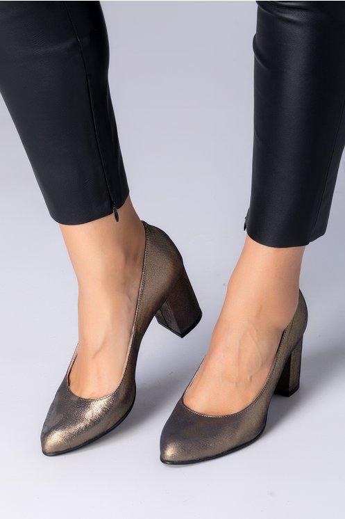 Pantofi Delia bronz cu reflexe