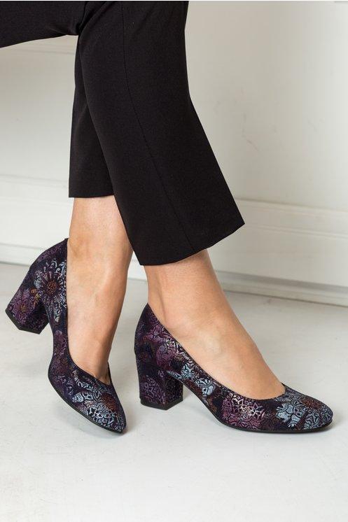 Pantofi Delicia bleumarin cu imprimeu baroc lila