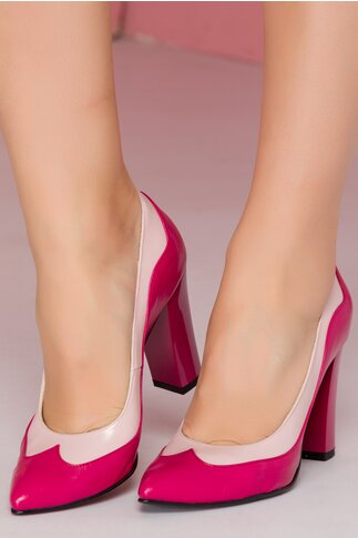 Pantofi din piele in doua nuante de roz si toc lucios
