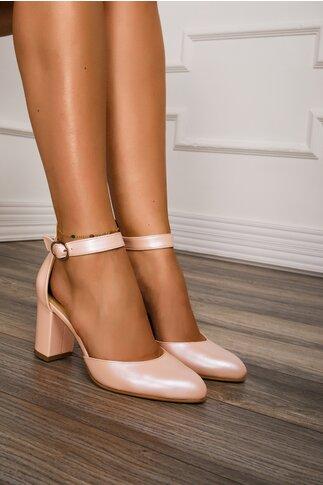 Pantofi din piele roz perlat cu toc gros si bareta la glezna