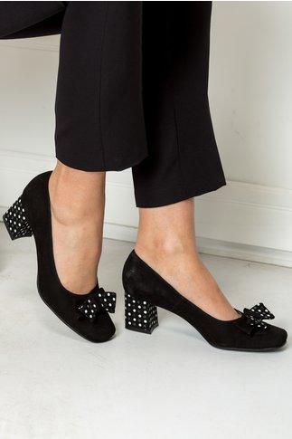 Pantofi Dots negri office cu funda si buline