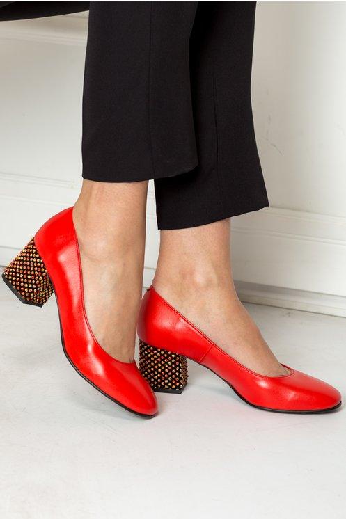 Pantofi Dyan rosii cu toc galben elegant