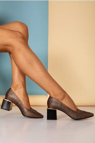 Pantofi eleganti cu imprimeu auriu si toc stilizat