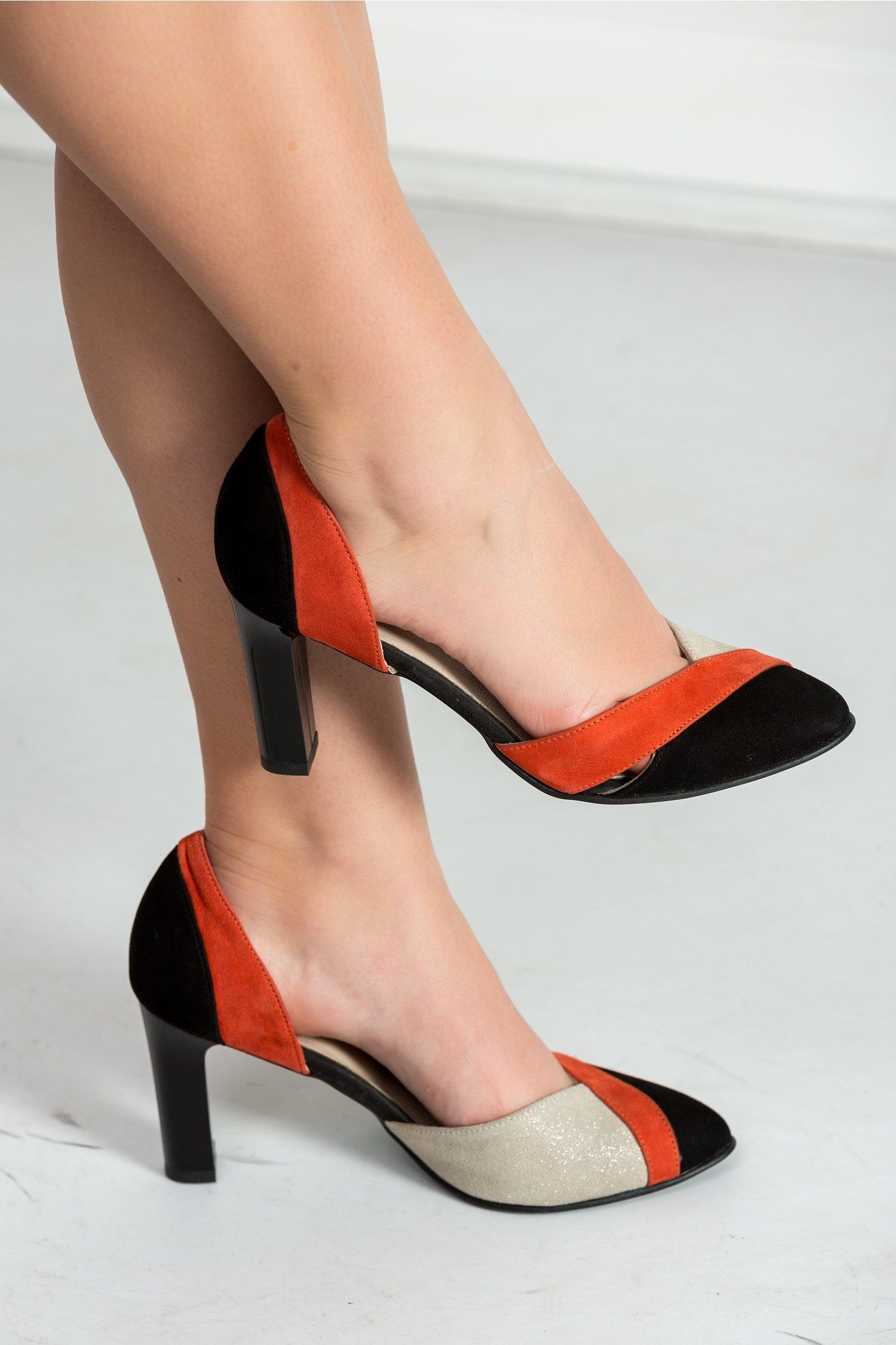 Pantofi Elisa negru oranj cu decupaje de ocazie