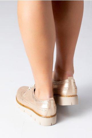 Pantofi Ella aurii casual cu siret