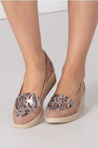 Pantofi Emma bej cu imprimeu animal print