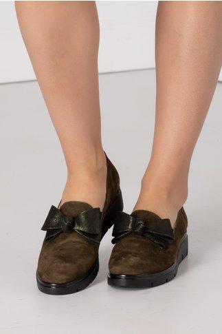 Pantofi Emma kaki cu funda in fata
