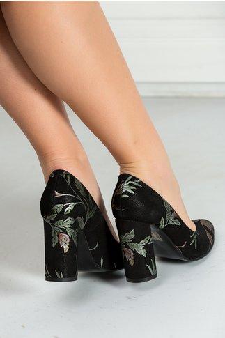 Pantofi Flamina negri cu imprimeuri florale