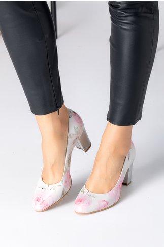 Pantofi Floris albi cu trandafiri roz