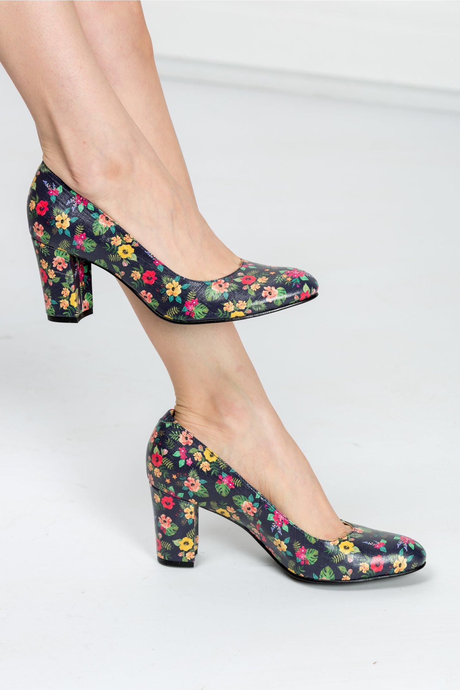 Pantofi Floris bleumarin cu imprimeuri florale