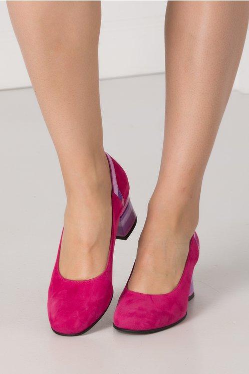 Pantofi fucsia din piele intoarsa cu imprimeu in degrade pe toc