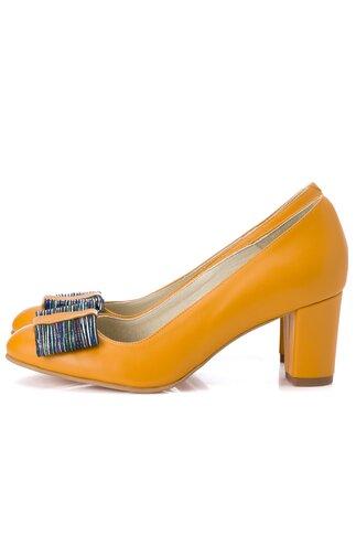 Pantofi galben mustar cu fundita maxi la varf cu imprimeu tin dungi