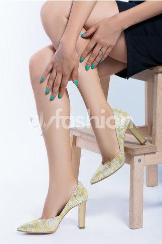 Pantofi Galbeni Spider cu textura si varf ascutit