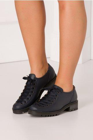 Pantofi Georgy bleumarin casual cu sireturi maxi