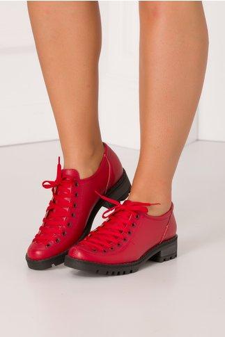 Pantofi Georgy rosii casual cu sireturi maxi