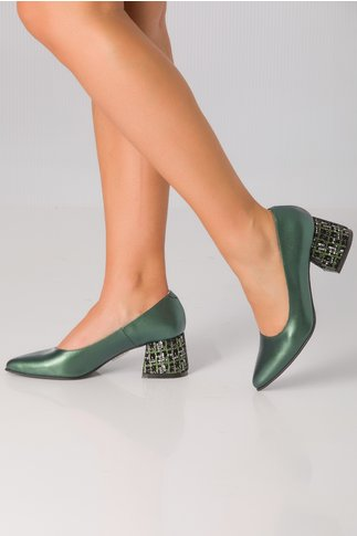 Pantofi Gina verzi cu toc imprimat