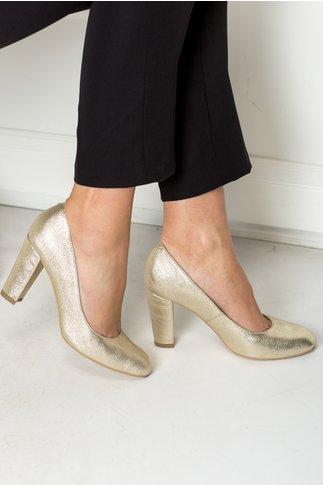 Pantofi Goldenia aurii de ocazie toc gros