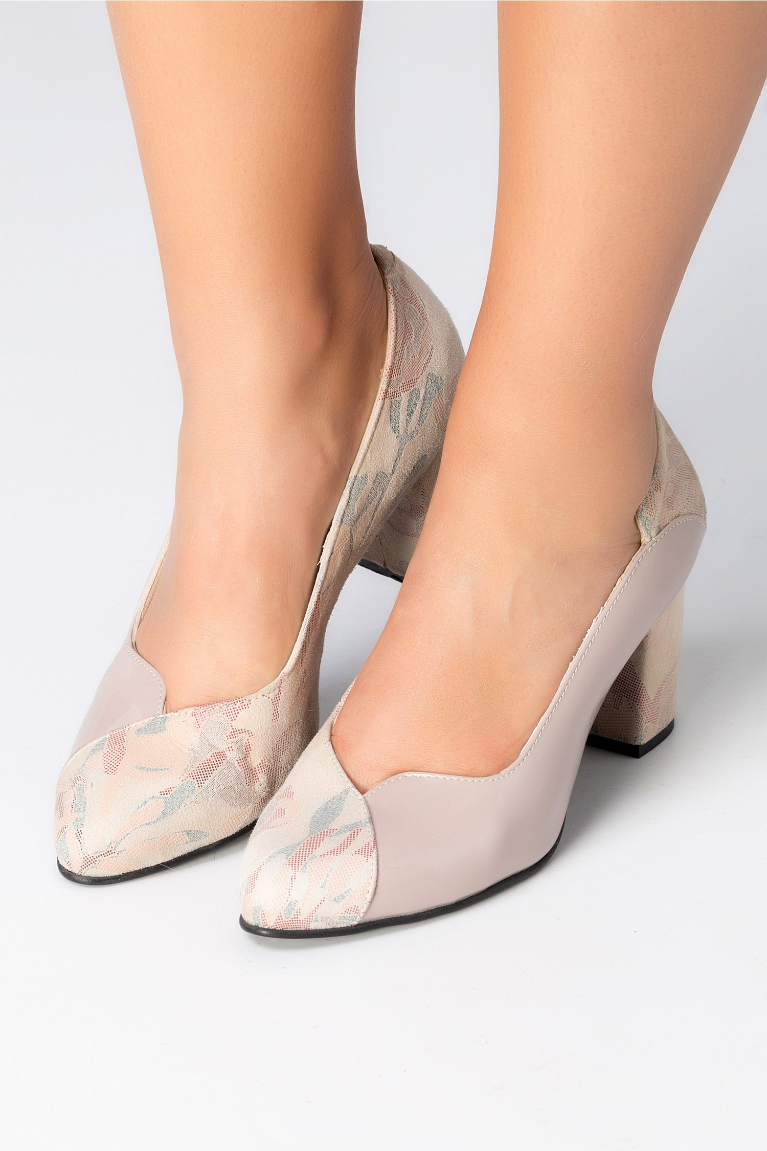 Pantofi Greenary bej cu imprimeuri