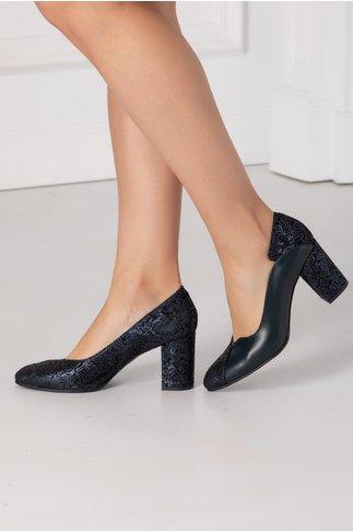 Pantofi Greenary bleumarin cu imprimeu floral metalizat