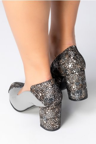 Pantofi Greenary gri cu imprimeu mozaic