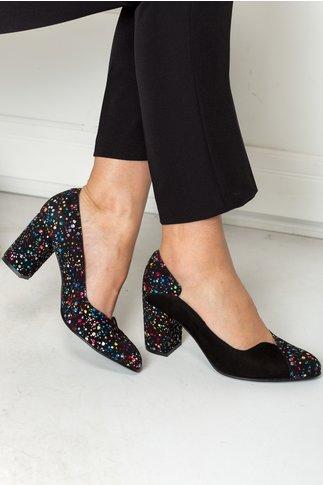 Pantofi Greenary negri cu imprimeuri colorate
