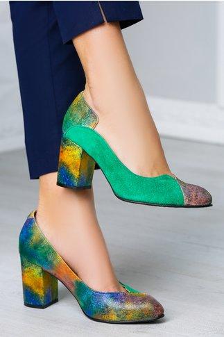 Pantofi Greenary office verzi cu imprimeuri