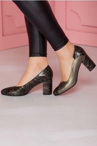 Pantofi gri inchis cu imprimeu snake