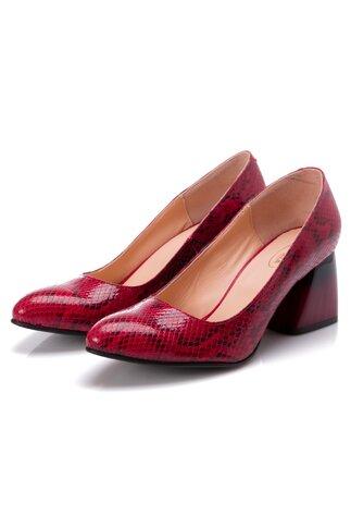 Pantofi Kalya rosii cu imprimeu  tip piele de sarpe