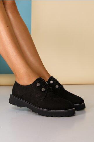 Pantofi Lara negri cu detalii argintii pe talpa si inchidere cu sireturi
