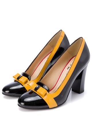 Pantofi Mary negri cu fundita galbena