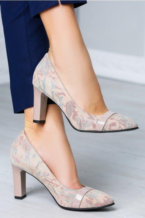 Pantofi Miriam roz pudrat cu imprimeuri
