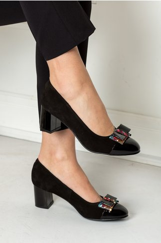 Pantofi Namid negri cu funda colorata