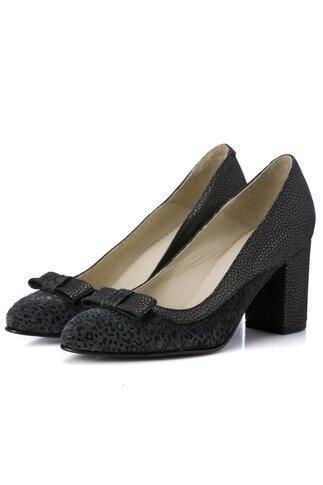 Pantofi negri cu animal print si detalii stralucitoare