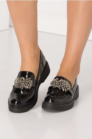 Pantofi negri cu aplicatii stil margele gri