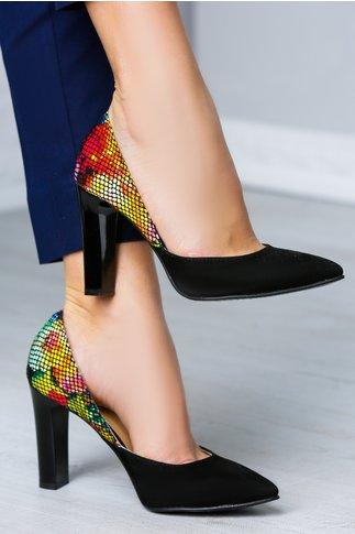 Pantofi Negri cu Decupaj si Design Tip Plasa