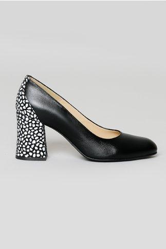 Pantofi Negri cu Textura Mozaic si Toc Mediu