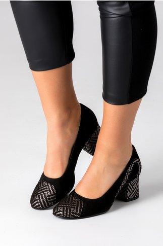 Pantofi negri din piele intoarsa cu insertii argintii
