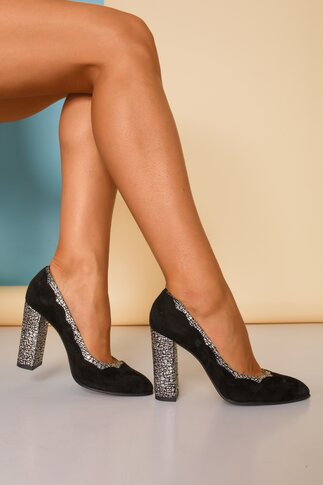 Pantofi negri eleganti cu insertii argintii
